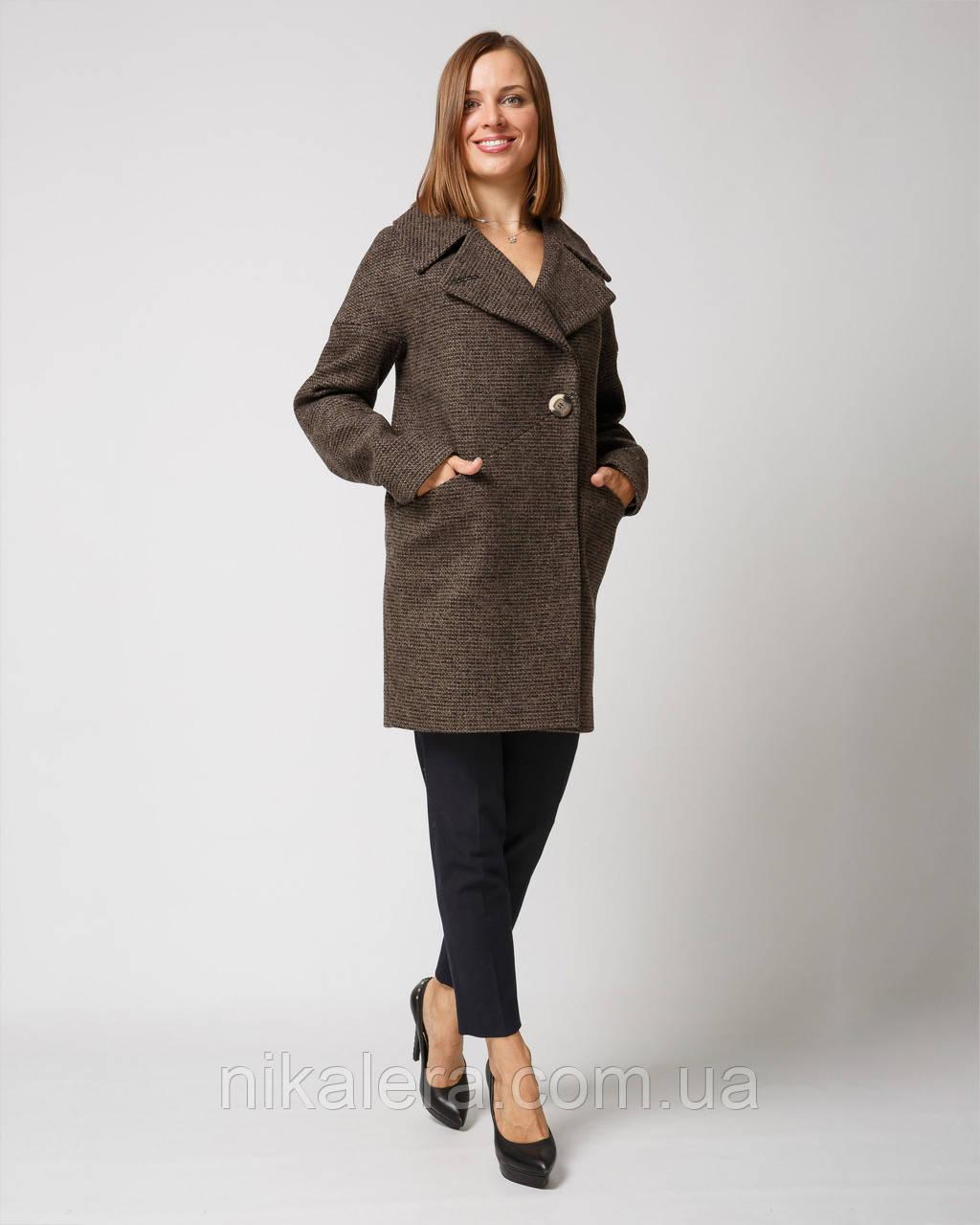 Стильное демисезонное пальто с английским воротом рр 42-52