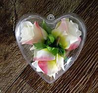 Прозрачное сердце - основа для декора (8х8 см) - 12 шт
