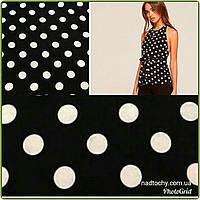 Поплин отрез на платье черный в горохах хлопок 1.5м при ширине 150см цена за отрез 120грн