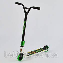 Самокат трюковый белая рама зеленые колеса Best Scooter