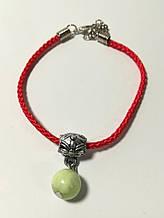 Браслет Красная нить с подвеской из Оникса, браслет обереговый, цвет красный \ Sb - 0228