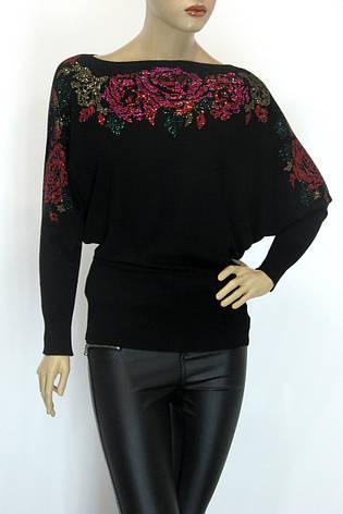 жіноча чорна нарядна кофта з стразами, фото 2
