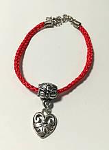 Браслет Красная нить с подвеской Сердце, браслет обереговый \ Sb - 0231