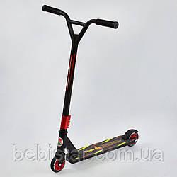Самокат трюковый черная рама красные колеса Best Scooter