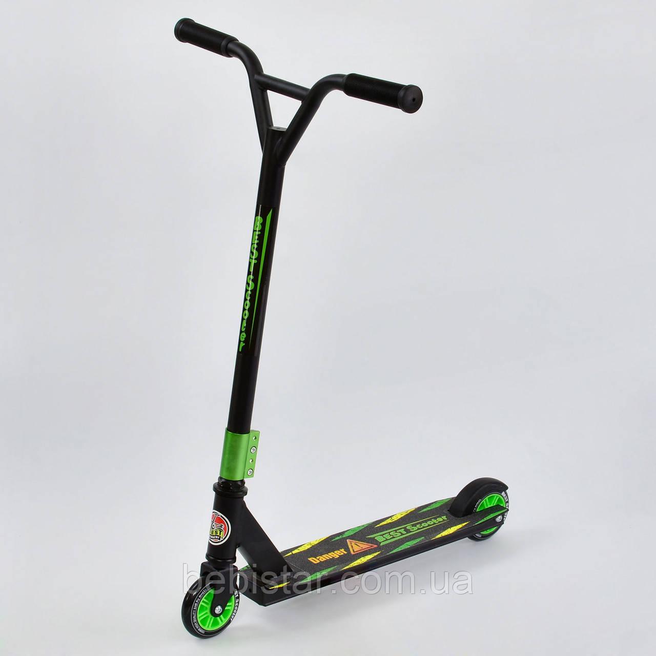 Самокат трюковий чорна рама зелені колеса Best Scooter