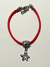 Браслет Красная нить с подвеской Пятилистник - удача, браслет обереговый \ Sb - 0234