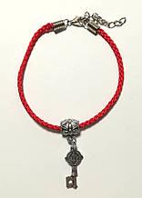 Браслет Червона нитка з підвіскою Ключик - достаток, браслет обереговий \ Sb - 0237