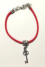 Браслет Червона нитка з підвіскою Ключик - достаток, браслет обереговий \ Sb - 0238