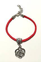Браслет Красная нить с подвеской Цветок, браслет обереговый \ Sb - 0239