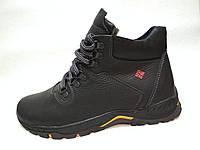 Мужские кожаные ботинки 075 черного цвета высокий размерный ряд 40-45