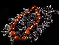 Бусы - галька из коричневого  авантюрина , фото 1