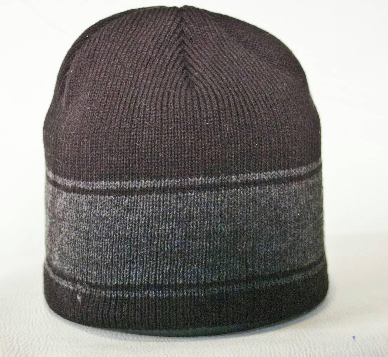 купить мужская вязаная шапка на флисе W15 осень зима оптом со склада