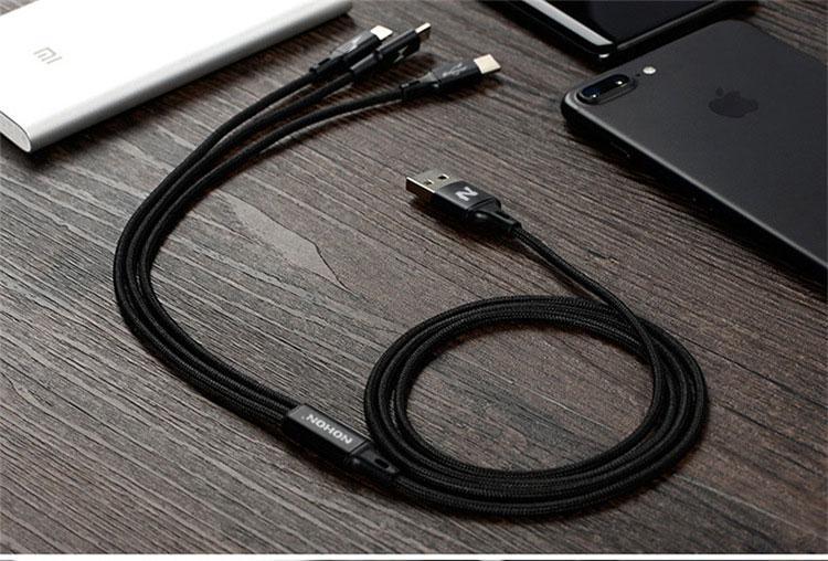 Кабель Nohon 3-в-1 (USB-lightning-microUSB-Type-C) -  black