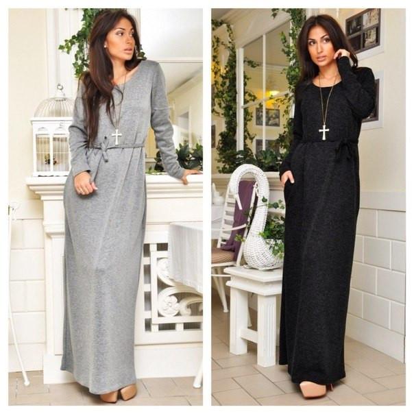 742741c70aa Платье в пол трикотажное с карманами и поясом - Интернет-магазин одежды и  обуви от