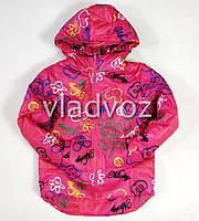 Детская демисезонная куртка для девочек малиновая микки 4-5 лет