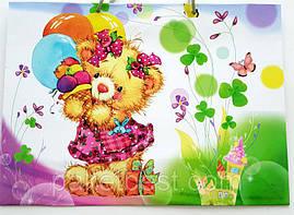 """Пакет для подарка большой горизонтальный """"Мишка с шариками"""" 36х22 см  (6 шт/уп)"""