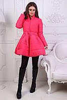 Тёплое стёганное Пальто-колокольчик