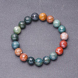 Браслет натуральный камень Яшма разноцветная граненный шарик d-10 мм на резинке