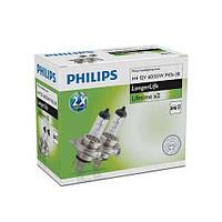 Комплект галогенних ламп Philips LongerLife 2x 12342ELC2 H4 12V 60/55W P43t-38