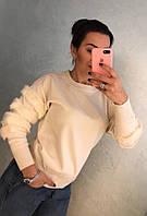Оригинальный свитер с рукавами декорированными мехом, фото 1