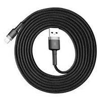 Кабель Baseus Kevlar 2A - серый+black (1 метр, USB-lightning)