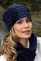 Шикарний жіночий комплект шапка і хомут трикотажний в 2х кольорах GLIFA-JOGA