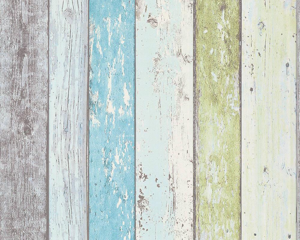 Обои с настоящими деревянными досками, окрашенными краской 855077, салатовые, зеленые, голубые, бирюзовые