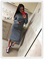 Платье серое ровное трикотажное, фото 1
