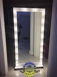 Зеркало с подсветкой и лампами в полный рост
