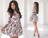 565b860823e Женское короткое платье с цветочным принтом