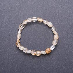 Браслет из натурального камня Цитрин галтовка d-7мм(+-) обхват 18 см на резинке