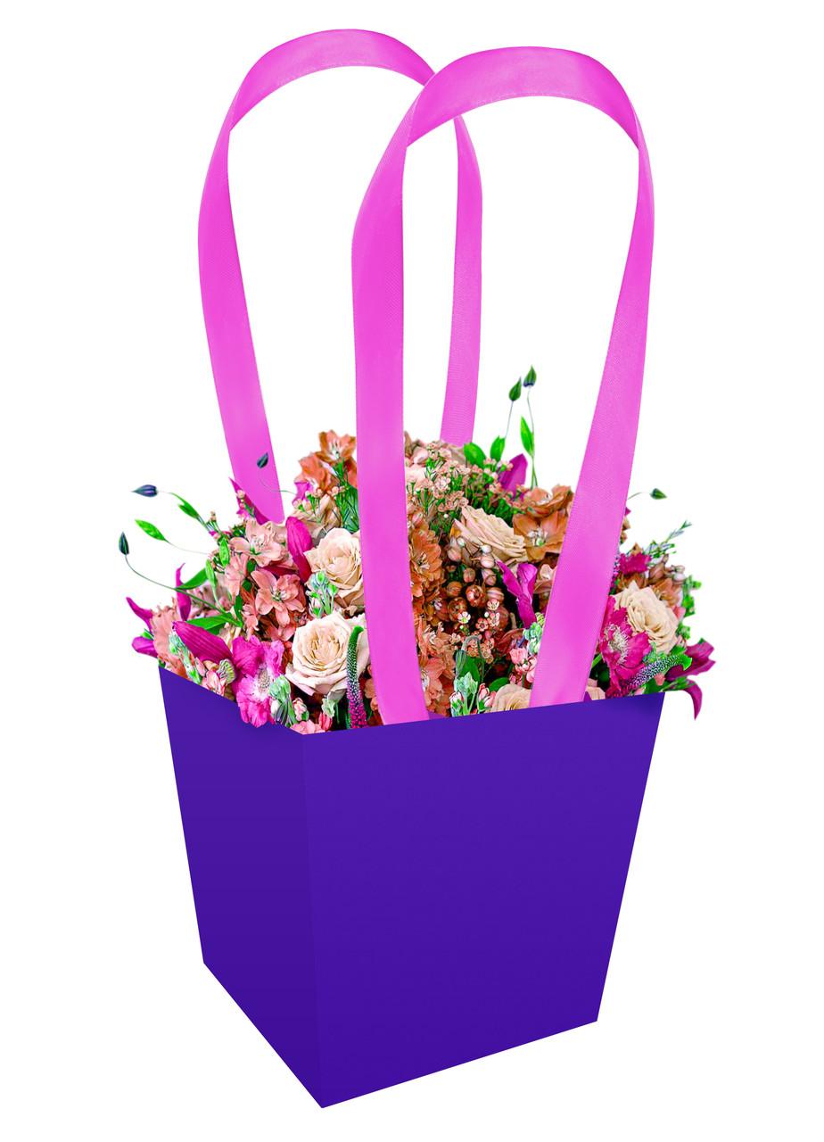 Паперова сумка - трапеція для букетів і горшкових квітів синя