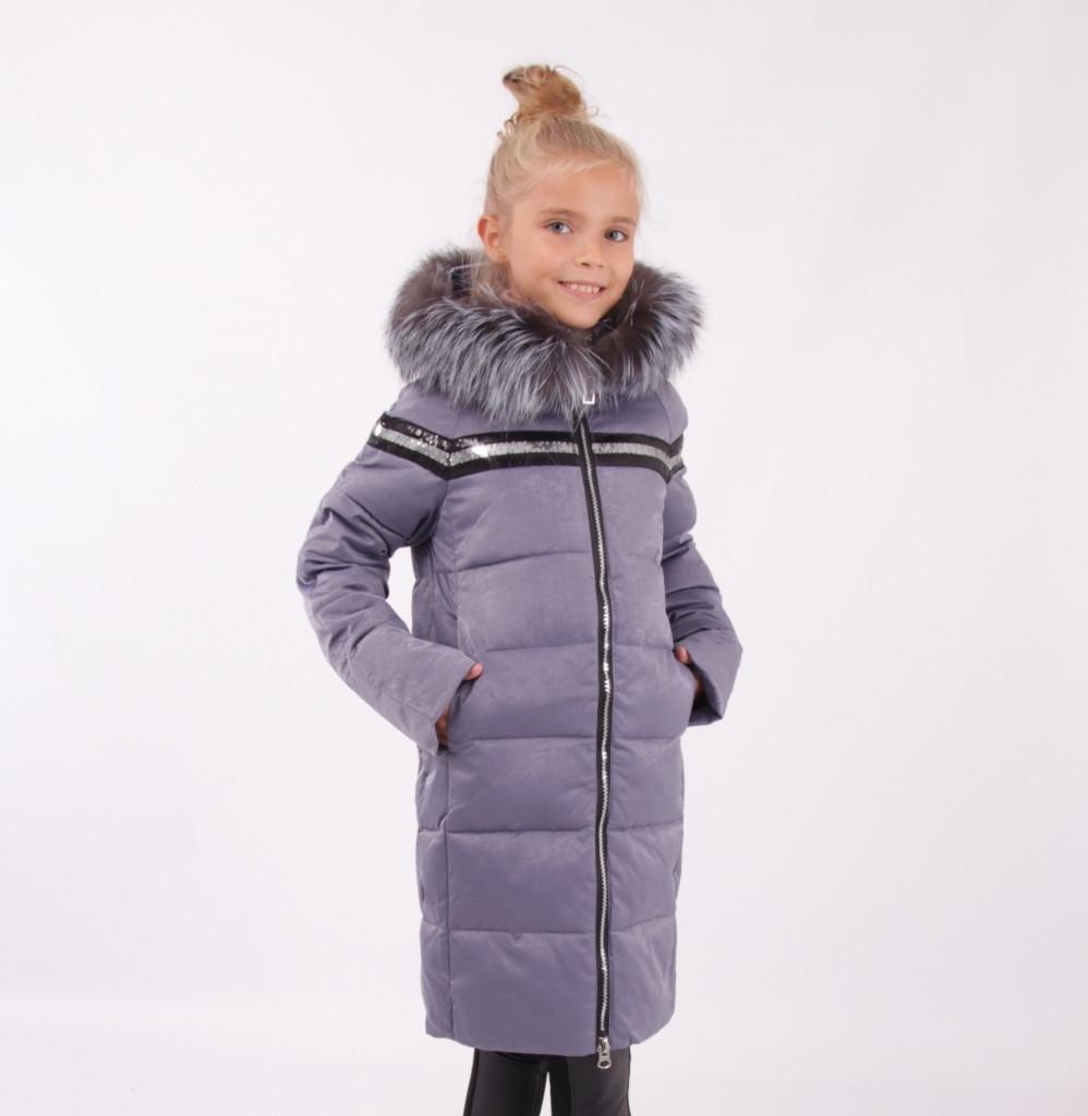 Детский зимний пуховик для девочки от Lusiming 91803, 116-140 (серо-голубой)