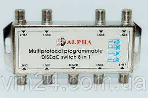 Коммутатор  DiSEqC 8x1  мультипротокольный. ALPHA
