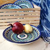 Тарелка глубокая универсальная ручной работы. Риштан, Узбекистан