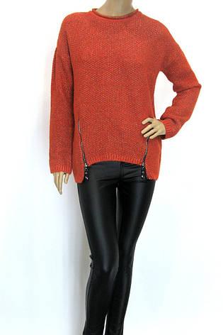 жіночий оранжевий светр реглан з люрексом, фото 2