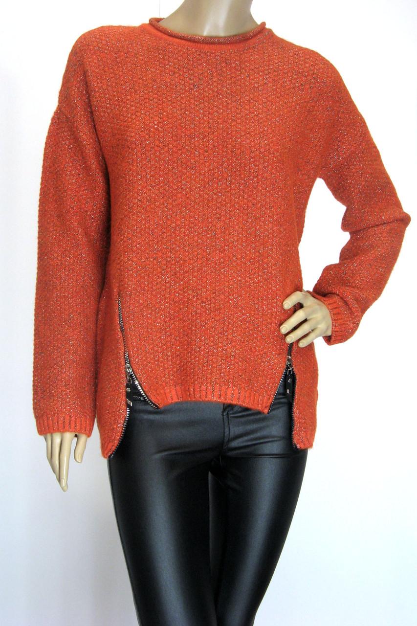 жіночий оранжевий светр реглан з люрексом