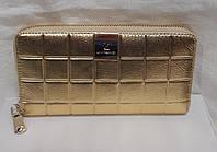 ac965fc2d15e Женский классический кошелёк. Стёганый кошелёк из натуральной кожи.Кошелёк  на молнии. золотой