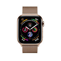 Смарт-часы Apple Watch Series 4 GPS + Cellular 44mm Gold Stainless Steel Case with Gold Milanese Loop (MTV82), фото 1