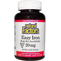 Natural Factors, Простое железо, 20 мг, 60 жевательных таблеток