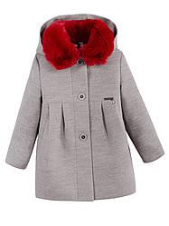 Детское демисезонное пальто на девочку, серое, р.98,104
