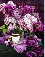 Алмазная вышивка 40*30 Сирень с чашкой чая (Частичная выкладка)