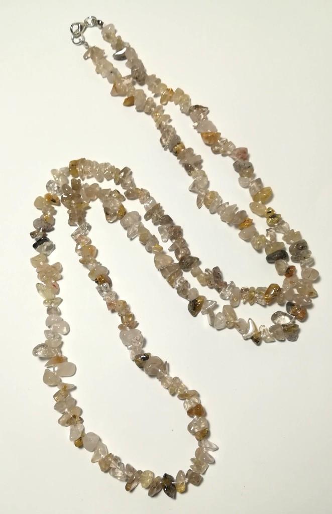 Бусы длинные Кварц Волосатик, натуральный камень, длина 100 см, тм Satori \ Sk - 0071