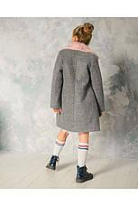 Детское пальто демисезонное для девочки vpd-5 мех кролик, размеры 122-152, фото 3