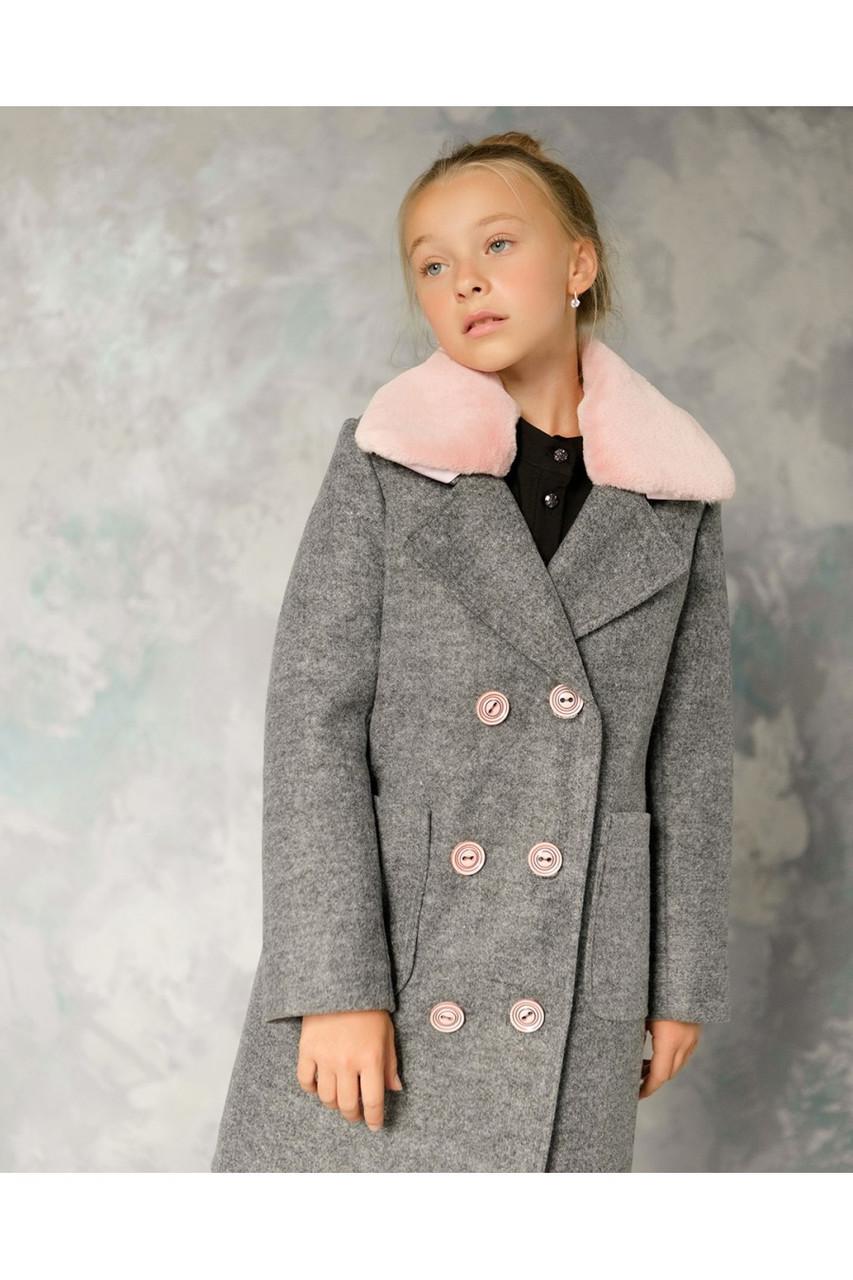 Детское пальто демисезонное для девочки vpd-5 мех кролик, размеры 122-152