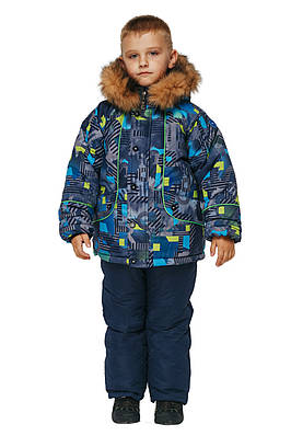 Детский зимний комбинезон для мальчика  26-32 синий