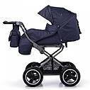 Универсальная коляска синяя Tilli Family 2в1 люлька прогулочный блок матрасик москитная сетка дождевик, фото 2