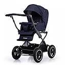 Универсальная коляска синяя Tilli Family 2в1 люлька прогулочный блок матрасик москитная сетка дождевик, фото 3