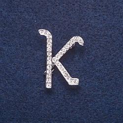 "Брошь инициал ""К"" цвет металла серебро 3х2,3см"
