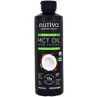 Nutiva, Органическое триглицеридное масло с цепочками средней длины из кокоса, без вкуса, 16 жидких унций (473 мл)